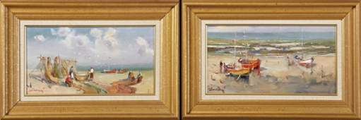 """French School, """"Boats on the Beach,"""" and """"Mending the"""