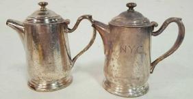 Pair Vintage Railroad Silver Coffee Servers Pair of