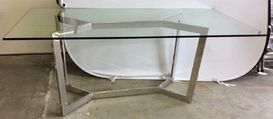 Modern Chrome Glass Dining Table Almost new Dining