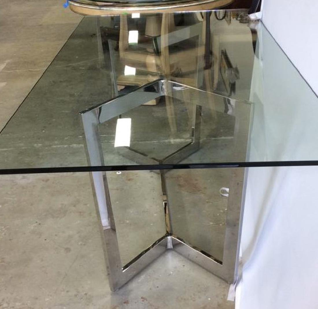 Modern Chrome Glass Dining Table Almost new Dining - 6