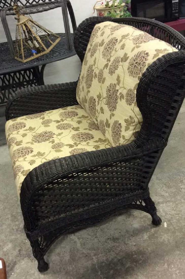 EBEL Set Black Heavy Woven Wicker  Club Chair and Loumg - 10