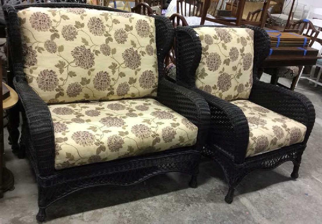 EBEL Set Black Heavy Woven Wicker  Club Chair and Loumg