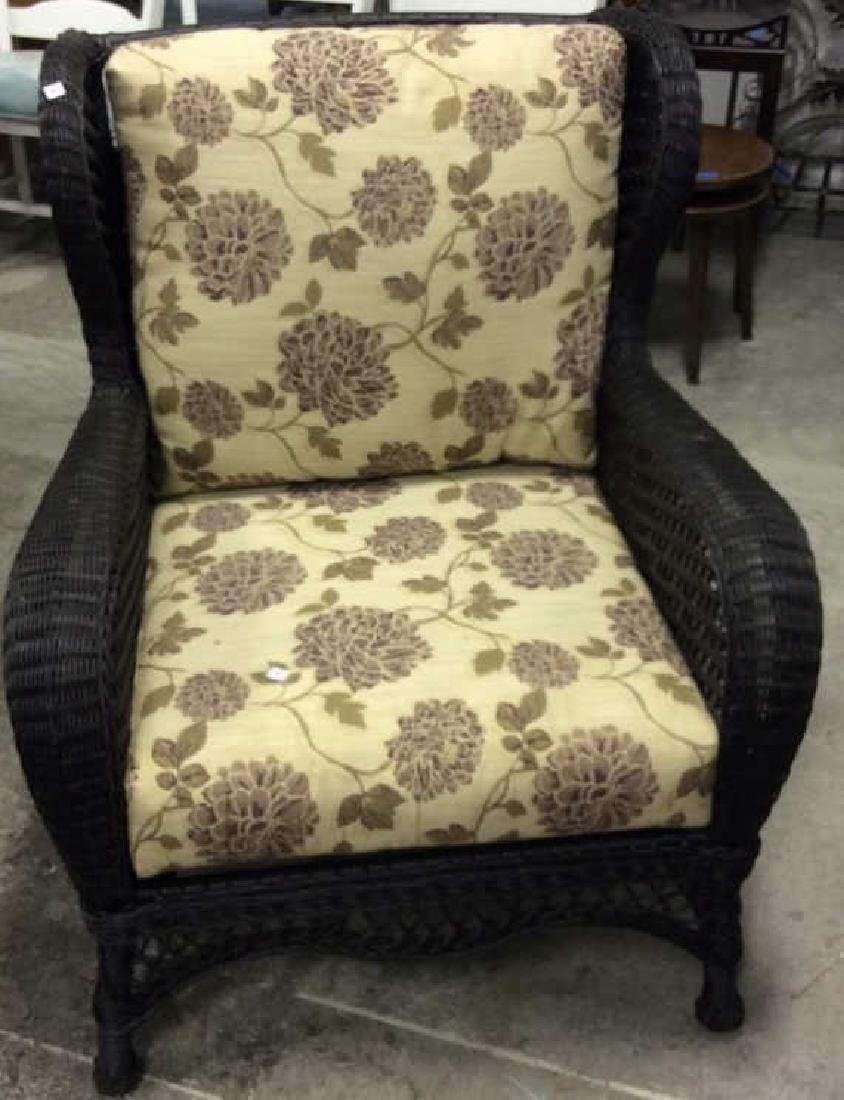 EBEL Set Black Heavy Woven Wicker  Club Chair and Loumg - 2