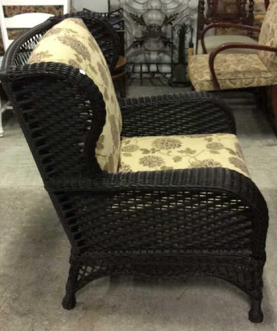 EBEL Set Black Heavy Woven Wicker  Club Chair and Loumg - 3