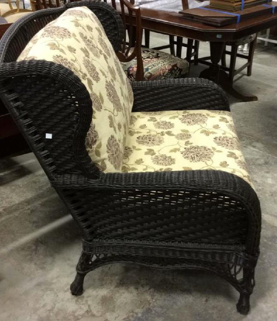 EBEL Set Black Heavy Woven Wicker  Club Chair and Loumg - 7