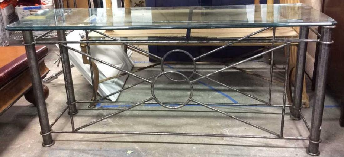 Silvered Iron Based glass Topped Table Geometric iron