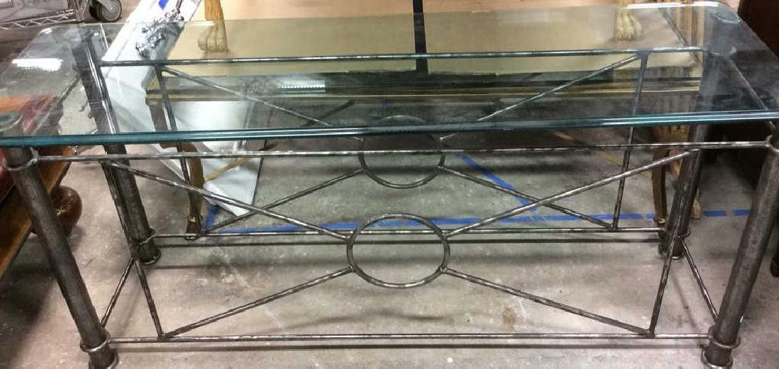 Silvered Iron Based glass Topped Table Geometric iron - 2