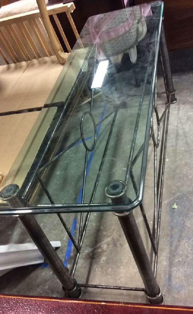Silvered Iron Based glass Topped Table Geometric iron - 3