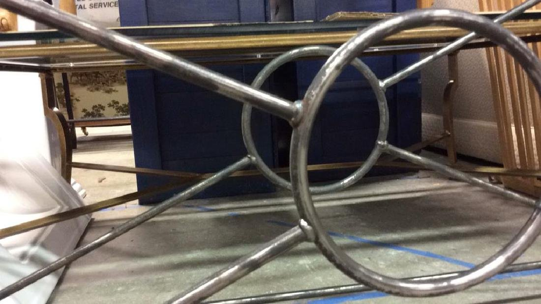 Silvered Iron Based glass Topped Table Geometric iron - 5