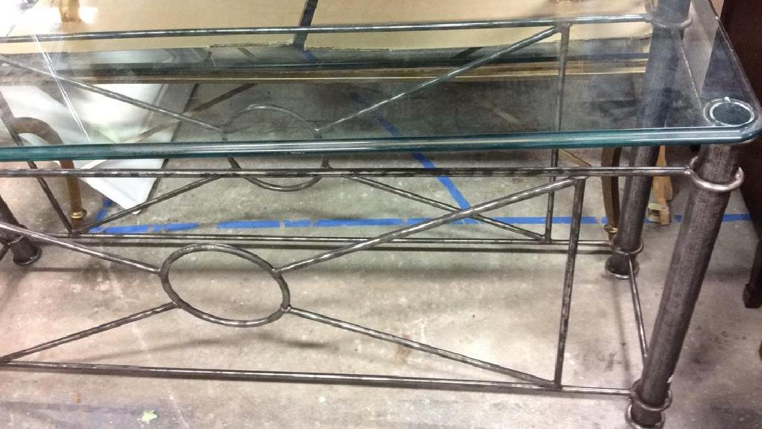 Silvered Iron Based glass Topped Table Geometric iron - 7