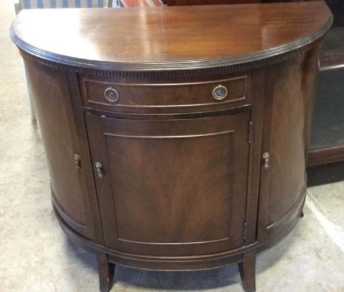 Flame Mahogany Demi Lune Side Table Demilune Table - 2