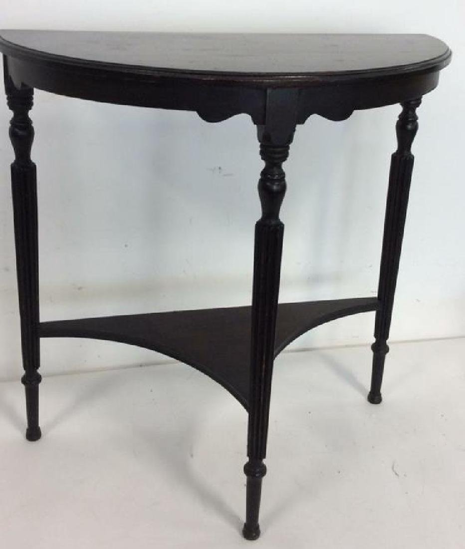 Ebonized Wood Demilune Table Vintage Fluted legs , top