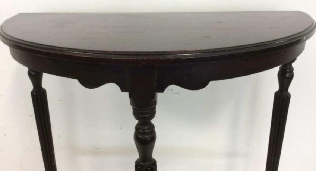 Ebonized Wood Demilune Table Vintage Fluted legs , top - 3