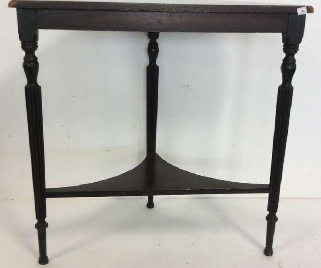 Ebonized Wood Demilune Table Vintage Fluted legs , top - 4