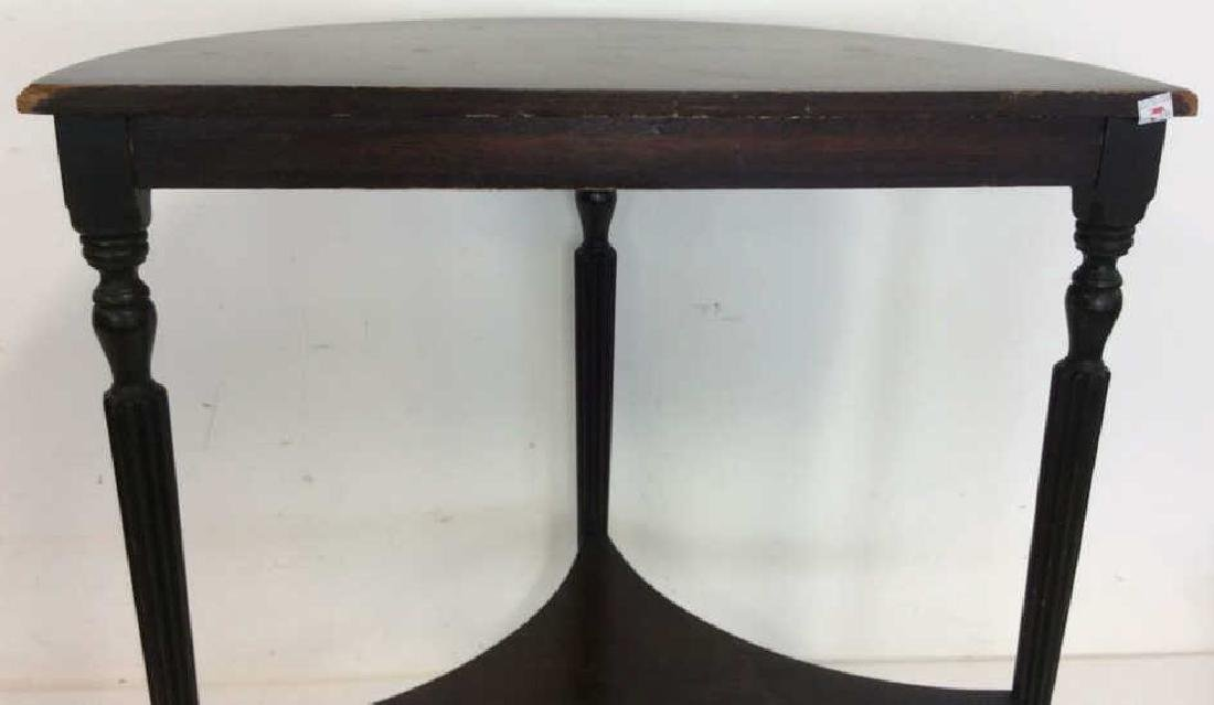 Ebonized Wood Demilune Table Vintage Fluted legs , top - 5