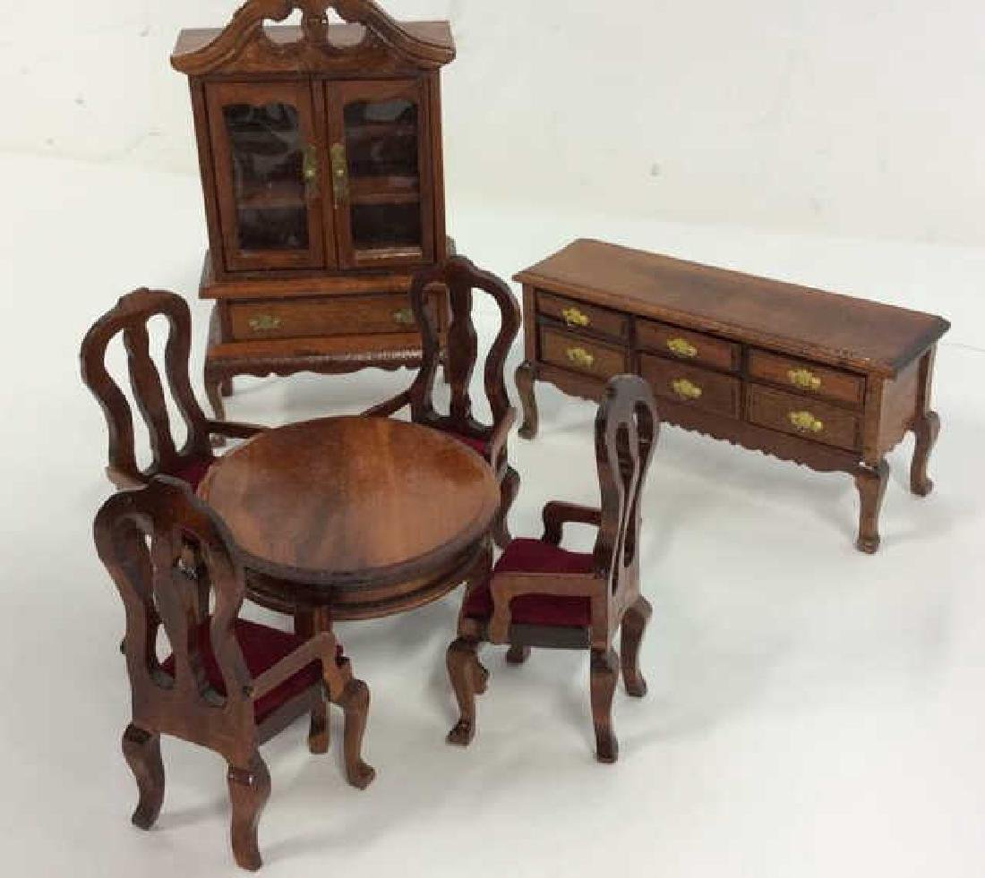 Vintage Wood Doll House Furniture Queen ANne Style Doll