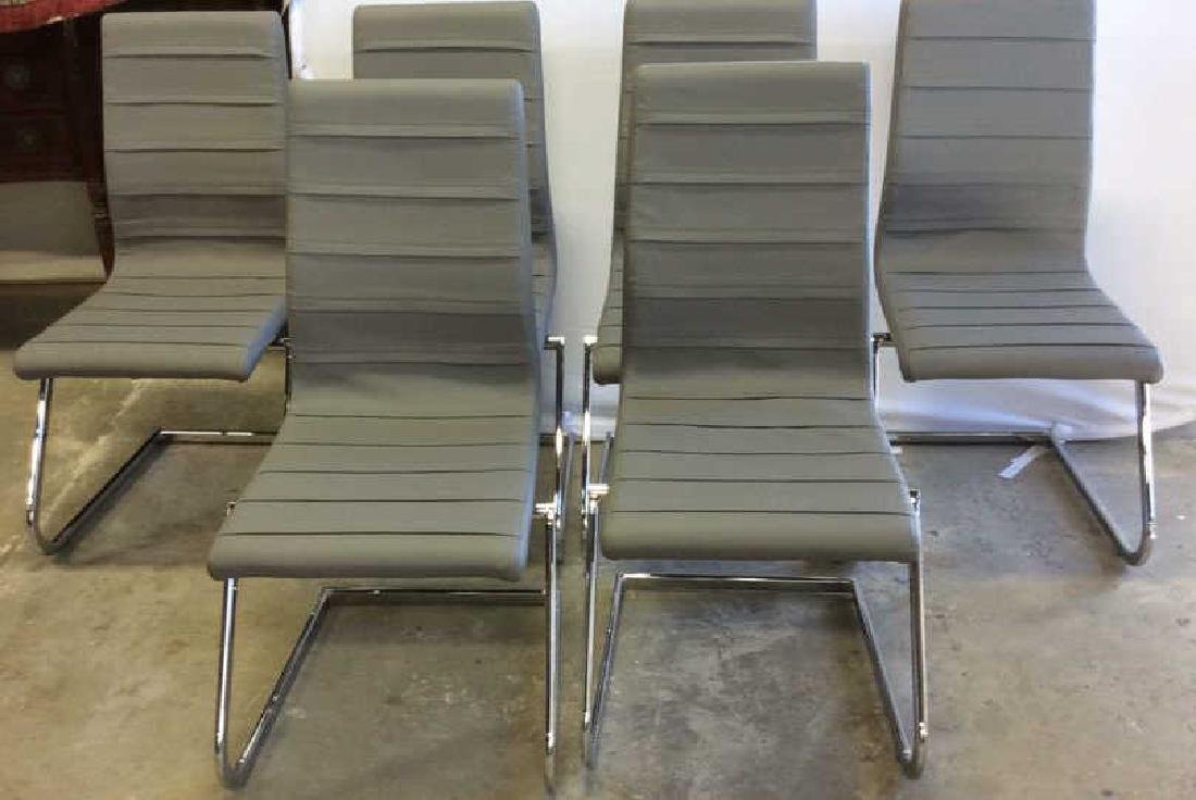 Set 6 New Gray Faux Leather Chrome Dining Chairs Gray