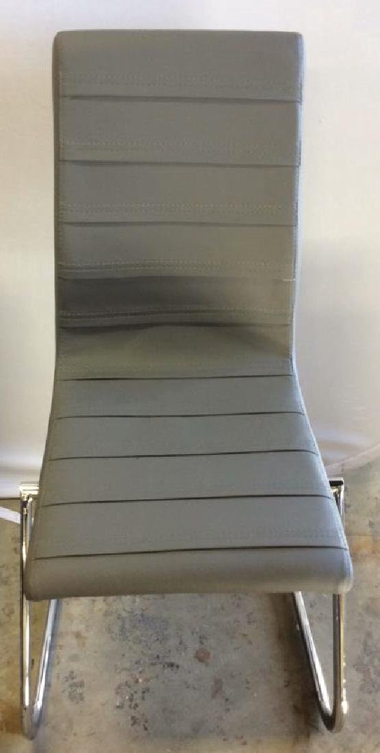 Set 6 New Gray Faux Leather Chrome Dining Chairs Gray - 2