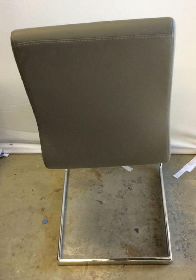 Set 6 New Gray Faux Leather Chrome Dining Chairs Gray - 4