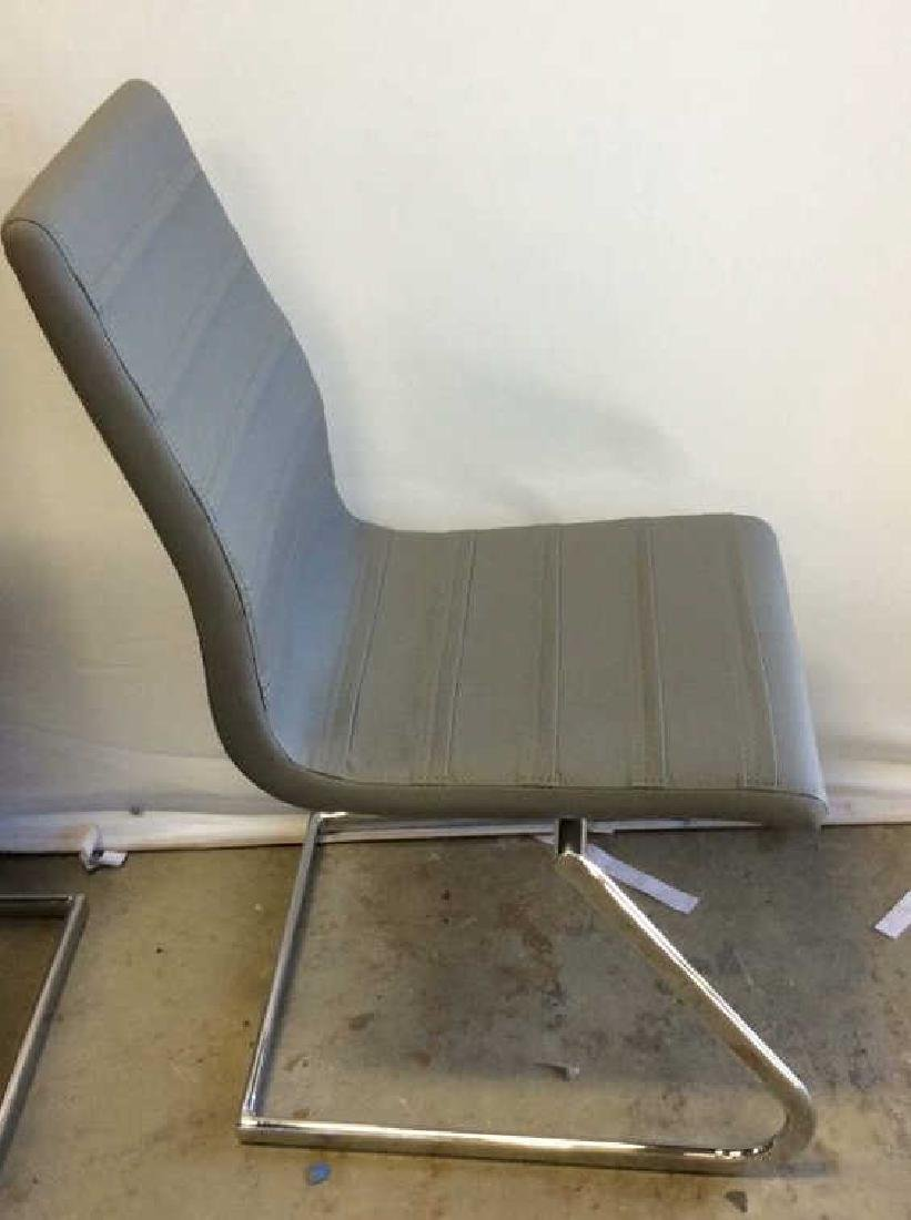 Set 6 New Gray Faux Leather Chrome Dining Chairs Gray - 5