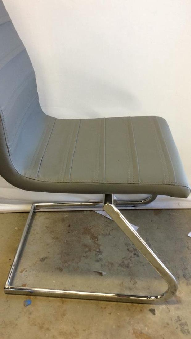 Set 6 New Gray Faux Leather Chrome Dining Chairs Gray - 6