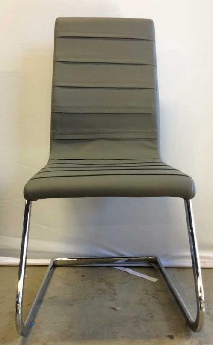 Set 6 New Gray Faux Leather Chrome Dining Chairs Gray - 7
