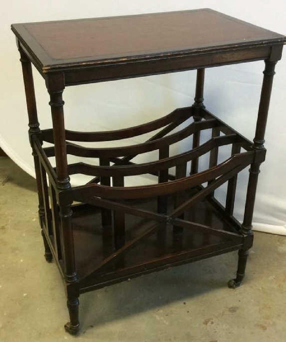 Antique Leather Mahogany Canterbury Table End table