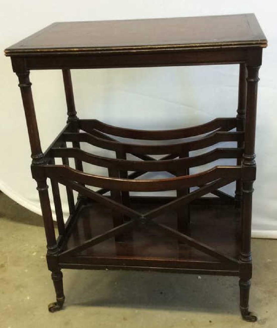 Antique Leather Mahogany Canterbury Table End table - 2