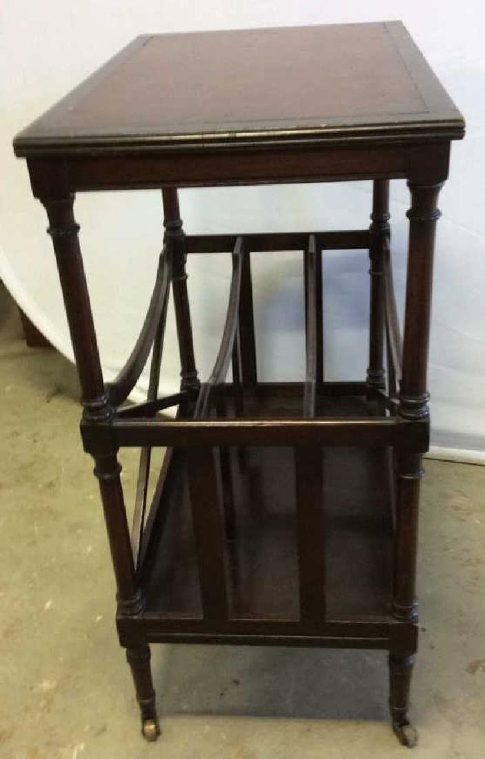 Antique Leather Mahogany Canterbury Table End table - 3