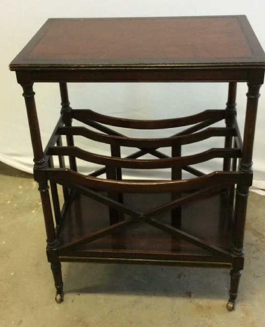 Antique Leather Mahogany Canterbury Table End table - 4