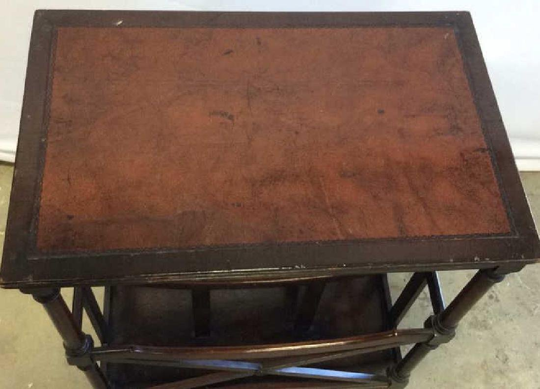 Antique Leather Mahogany Canterbury Table End table - 5