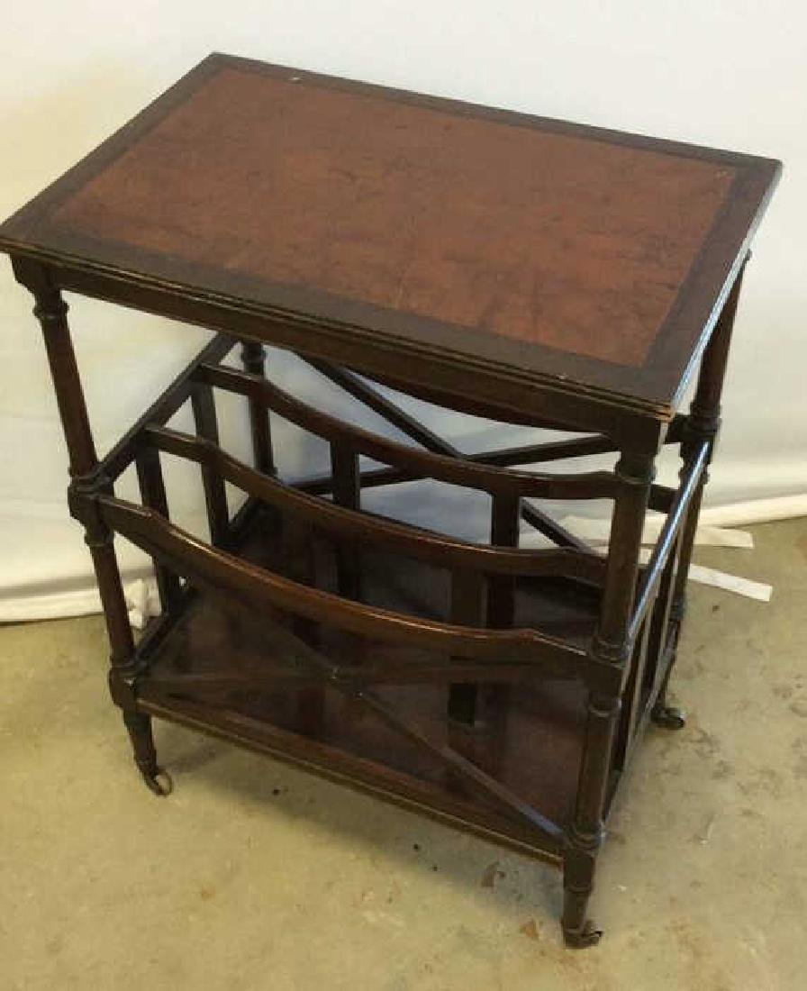 Antique Leather Mahogany Canterbury Table End table - 6