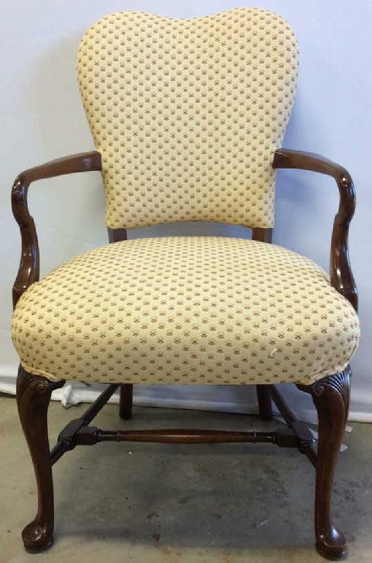 Vintage Walnut Upholstered Arm Chair Carved arm chair