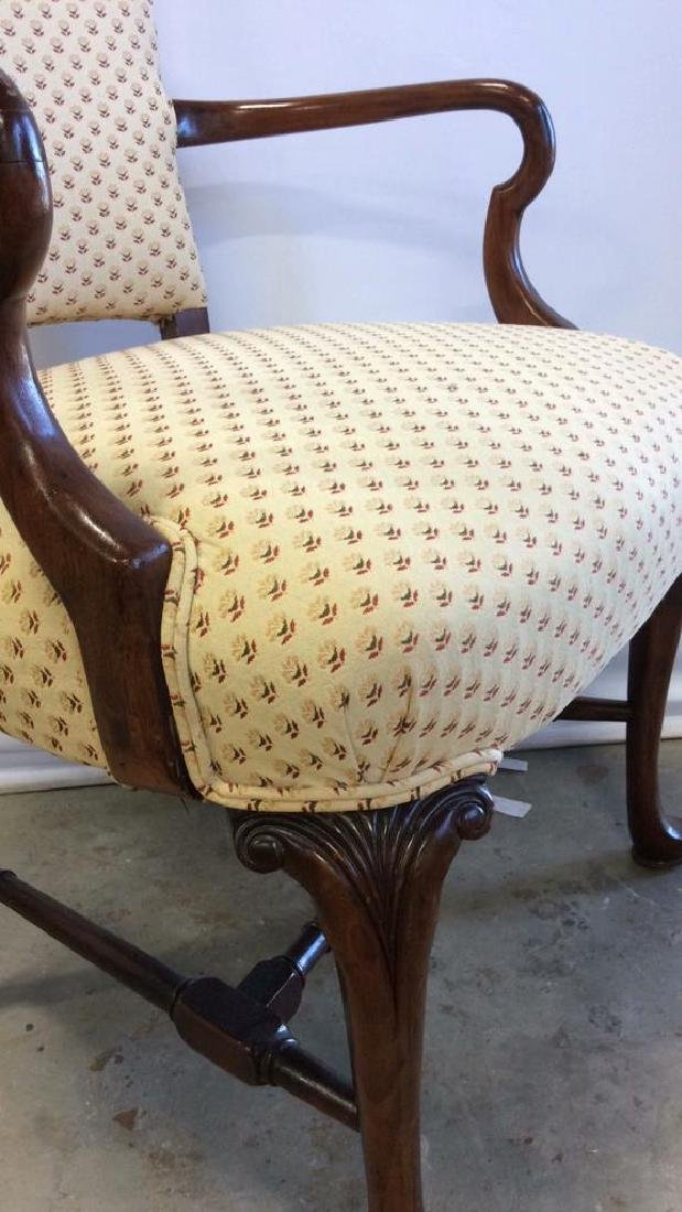 Vintage Walnut Upholstered Arm Chair Carved arm chair - 3