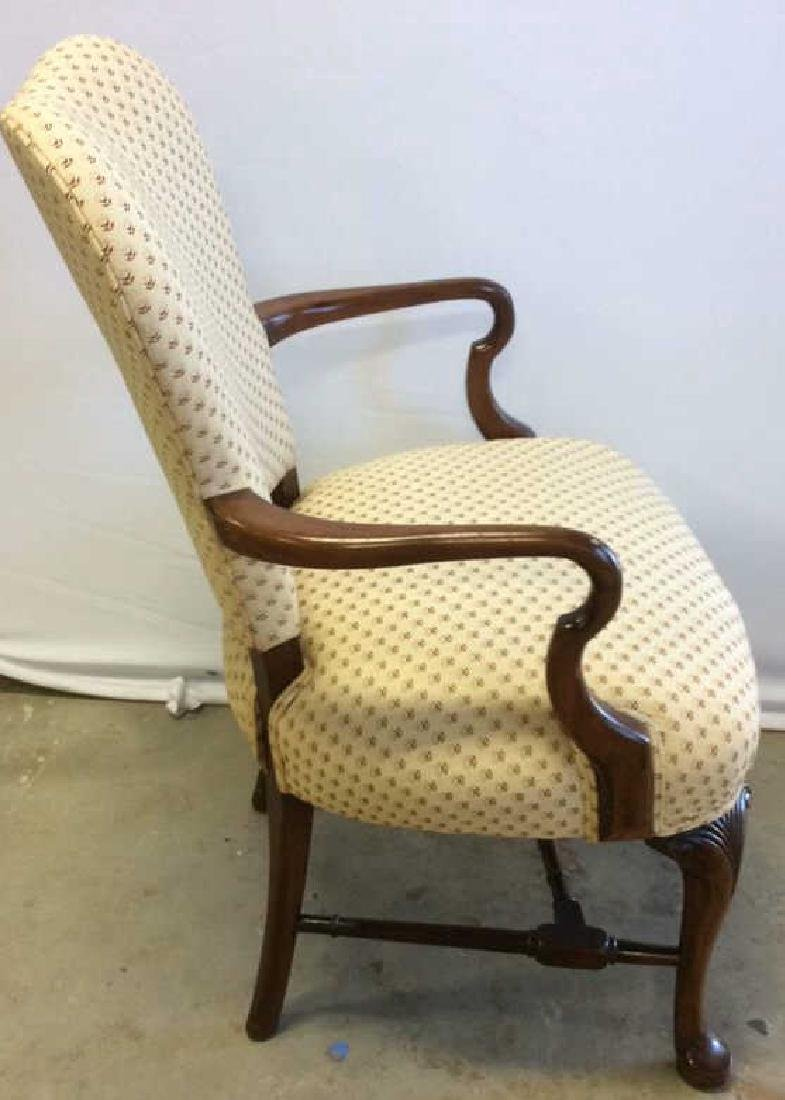 Vintage Walnut Upholstered Arm Chair Carved arm chair - 5