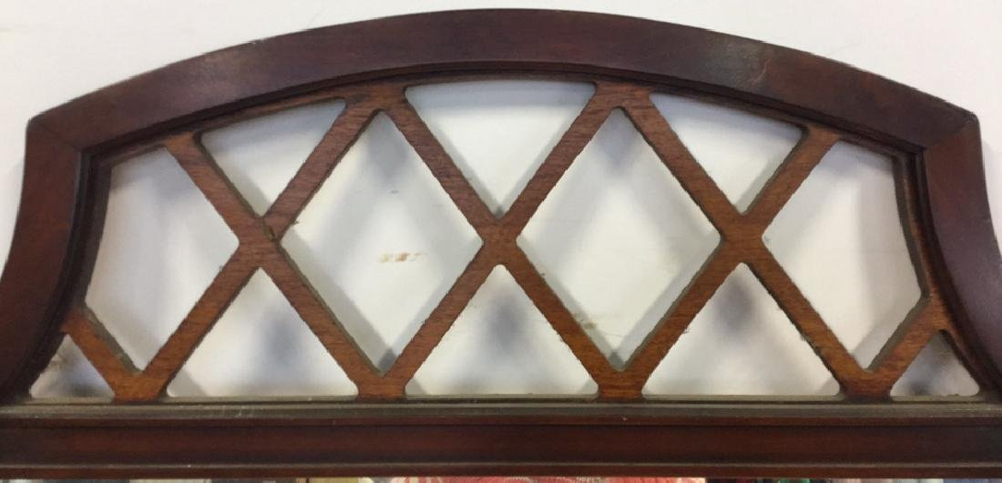 Vintage Lattice Framed Carved Wood Mirror Vintage wood - 3