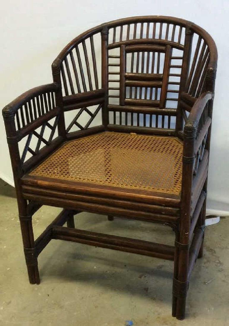 Vintage Bamboo Caned Arm Chair Vintage chocolate brown