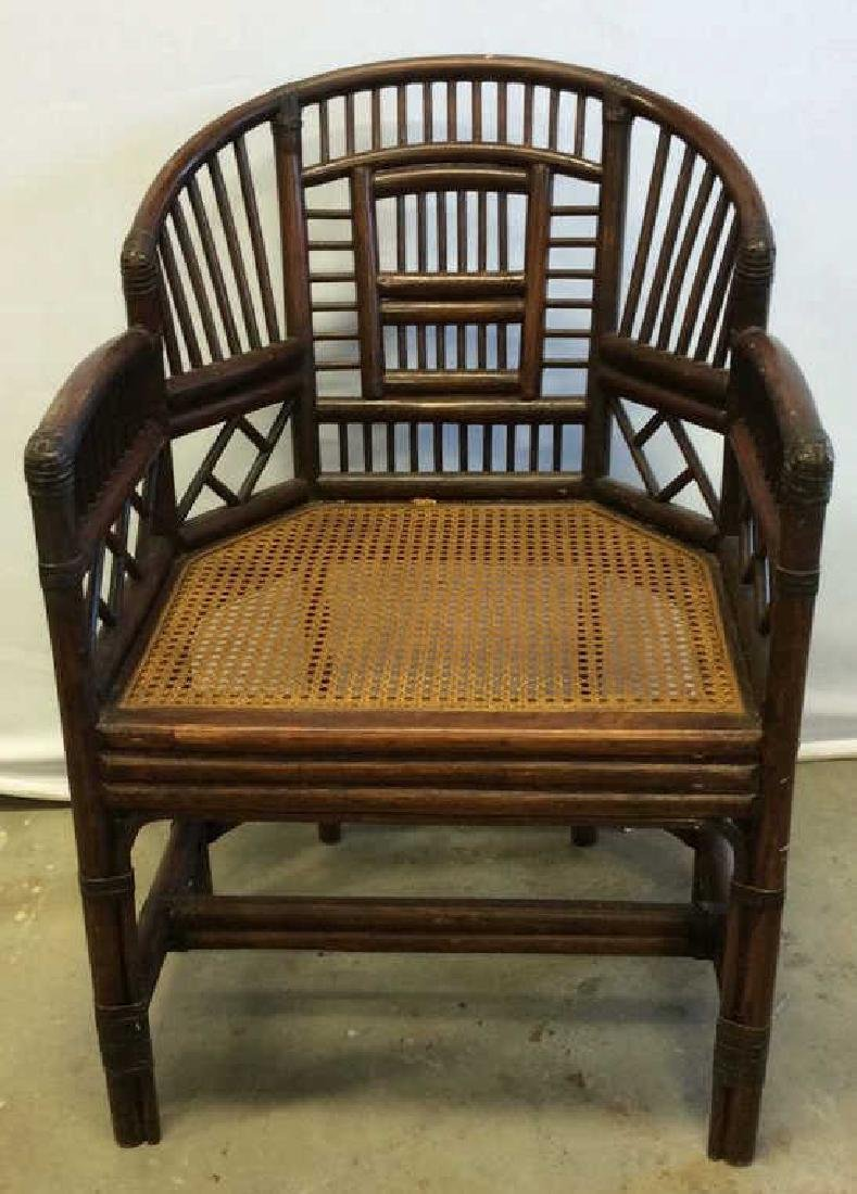 Vintage Bamboo Caned Arm Chair Vintage chocolate brown - 2