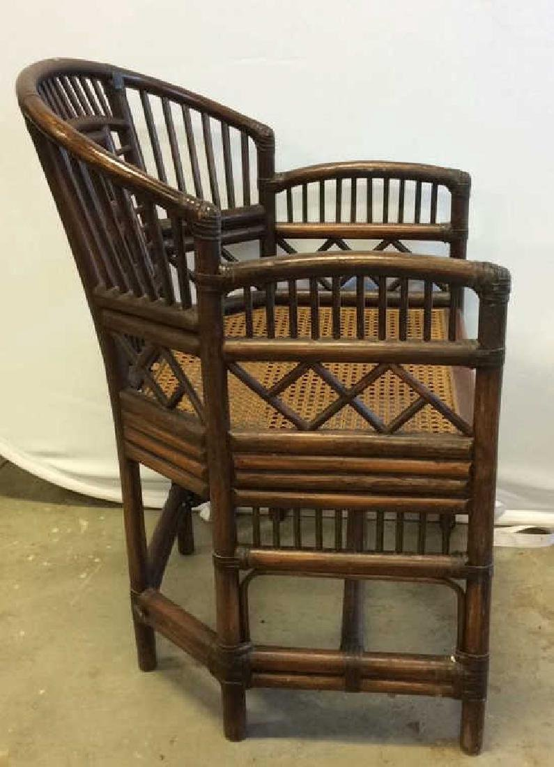 Vintage Bamboo Caned Arm Chair Vintage chocolate brown - 3