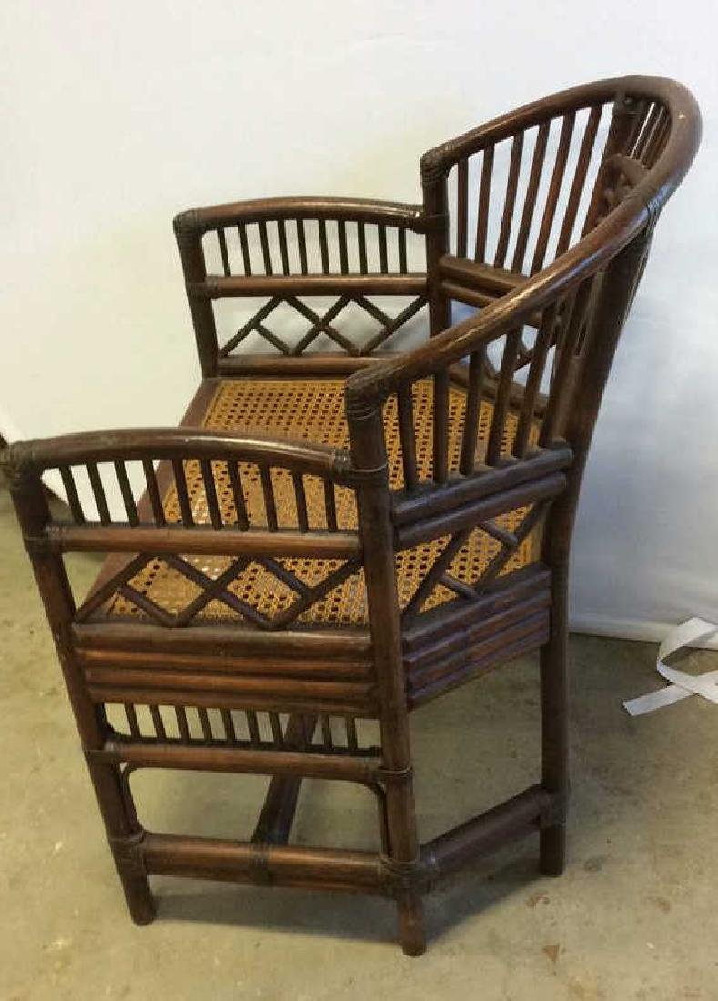 Vintage Bamboo Caned Arm Chair Vintage chocolate brown - 5