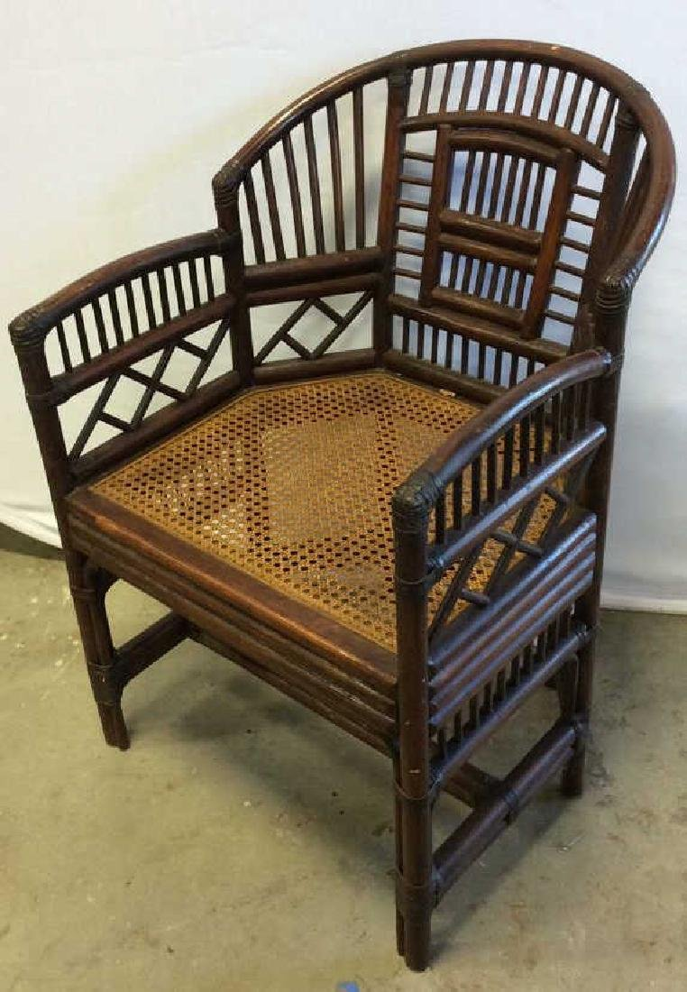 Vintage Bamboo Caned Arm Chair Vintage chocolate brown - 6