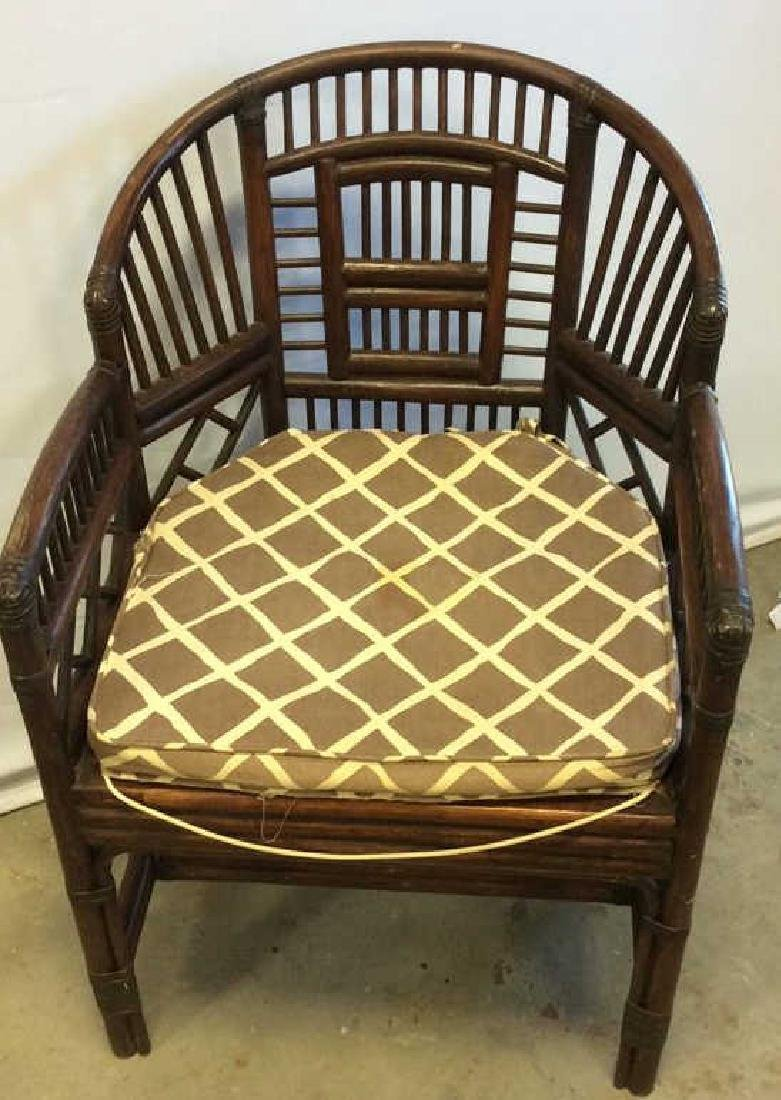 Vintage Bamboo Caned Arm Chair Vintage chocolate brown - 7