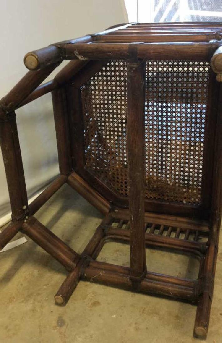 Vintage Bamboo Caned Arm Chair Vintage chocolate brown - 9