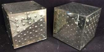 Pair Mirrored Cube End Tables End Tables, Side tables,