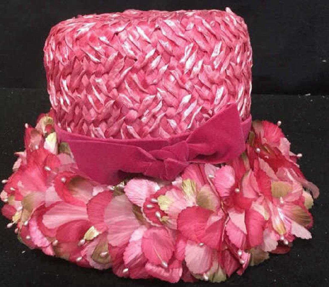 Vintage Hot Pink Floral Ladies Hat Vintage ladies