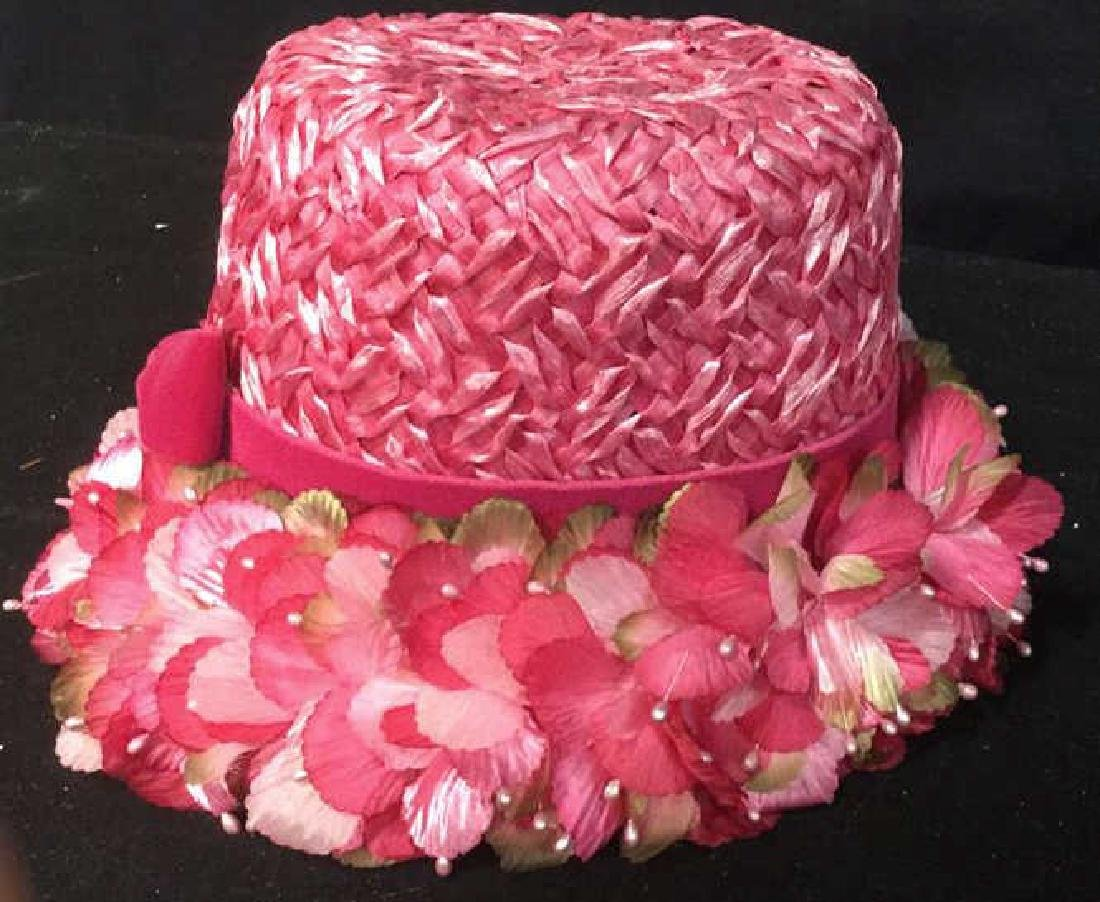Vintage Hot Pink Floral Ladies Hat Vintage ladies - 3