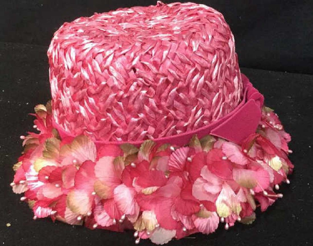 Vintage Hot Pink Floral Ladies Hat Vintage ladies - 5