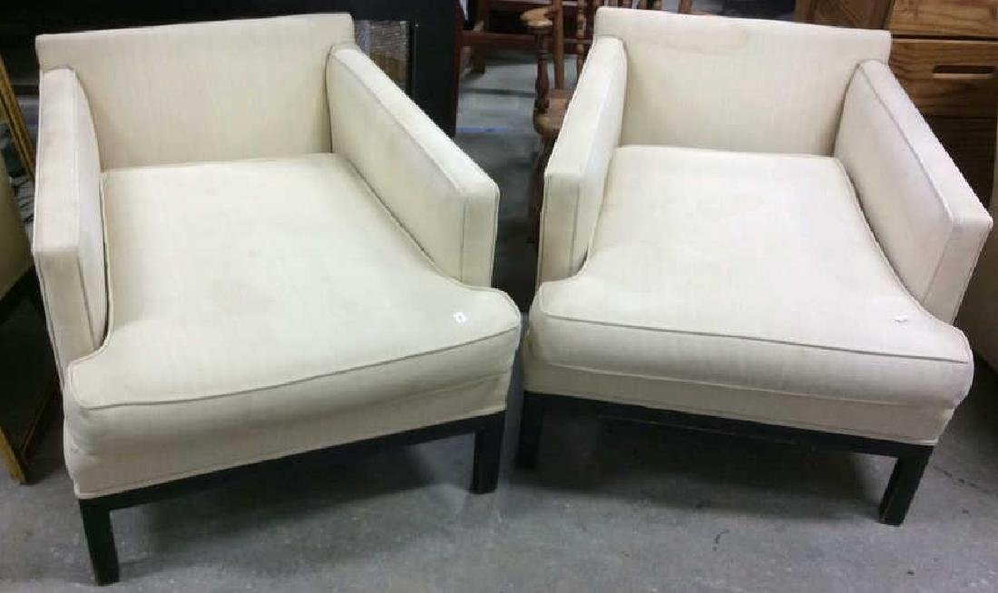 Pair Vintage Square Upholstered Low chairs Ebonized