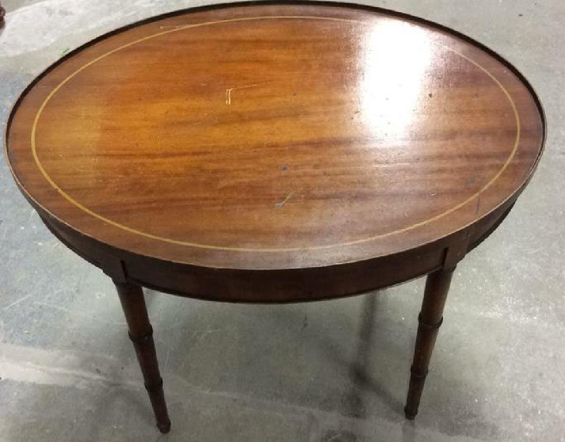 Antique Inlaid Oval Low Table Oval Low Table coffee