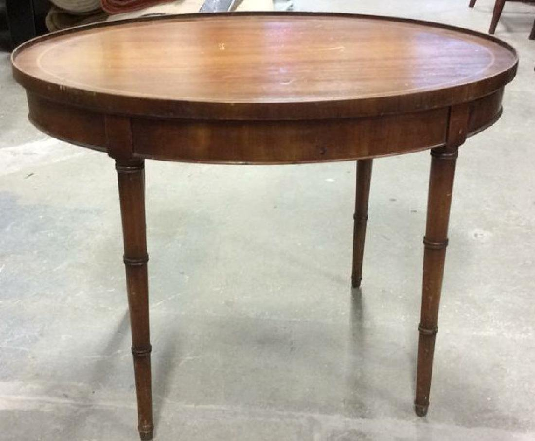 Antique Inlaid Oval Low Table Oval Low Table coffee - 2